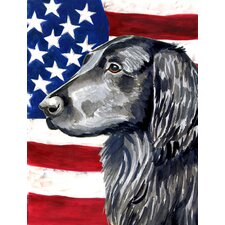 American Flag with Flat Coated Retriever 2-Sided Garden Flag