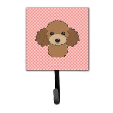 Checkerboard Chocolate Brown Poodle Leash Holder and Wall Hook