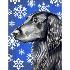 Flat Coated Retriever Winter Snowflakes Holiday 2-Sided Garden Flag