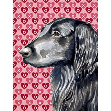 Flat Coated Retriever Hearts Love and Valentine's Day Portrait 2-Sided Garden Flag