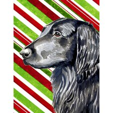Flat Coated Retriever Candy Cane Holiday Christmas House Vertical Flag