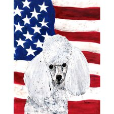 White Toy Poodle with American Flag USA House Vertical Flag