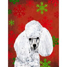 White Toy Poodle Red Snowflakes Holiday House Vertical Flag