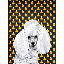 White Toy Poodle Candy Corn Halloween House Vertical Flag