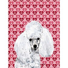 White Toy Poodle Hearts and Love House Vertical Flag
