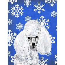 White Toy Poodle Winter Snowflakes House Vertical Flag
