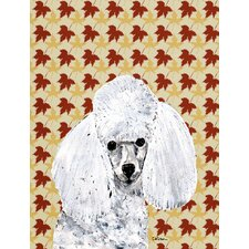 White Toy Poodle Fall Leaves House Vertical Flag