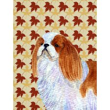English Toy Spaniel Fall Leaves House Vertical Flag