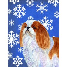 English Toy Spaniel Winter Snowflakes Holiday House Vertical Flag