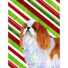 English Toy Spaniel Candy Cane Holiday Christmas House Vertical Flag