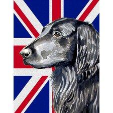 Flat Coated Retriever with English Union Jack British Flag 2-Sided Garden Flag