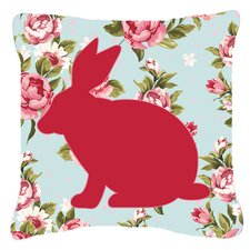 Rabbit Shabby Elegance Blue Roses Indoor/Outdoor Throw Pillow