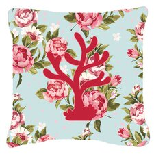 Coral Shabby Elegance Blue Roses Indoor/Outdoor Throw Pillow