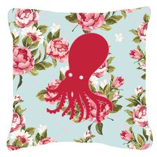 Octopus Shabby Elegance Blue Roses Indoor/Outdoor Throw Pillow