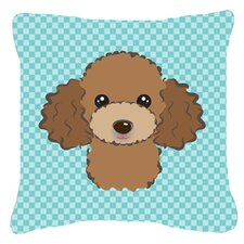 Checkerboard Chocolate Brown Poodle Indoor/Outdoor Throw Pillow