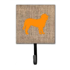 Curly Coated Retriever Burlap and Orange Leash Holder and Wall Hook