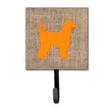 Afghan Hound Burlap and Orange Leash Holder and Wall Hook