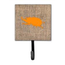 Beetle Burlap and Orange Leash Holder and Wall Hook