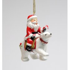 Santa Riding Polar Bear Ornament