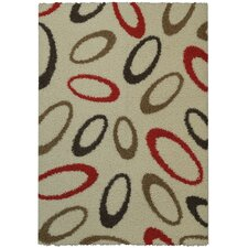 Bella Maxy Home Geometric Almonds Oval Contemporary Ivory/Red Shag Area Rug