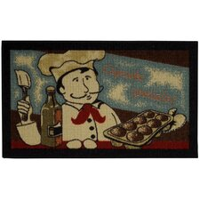 Cucina Cookie Chef Black Kitchen Area Rug