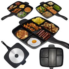 "Non Stick Divided Meal Skillet 15"" Grill Fry Oven/Dishwasher Safe"