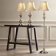 Norma 3 Piece Table Lamp and Floor Lamp Set with Bell Shade