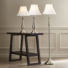 Marion 3 Piece Table Lamp and Floor Lamp Set with Bell Shade