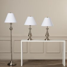 Younis 3 Piece Table Lamp and Floor Lamp Set with Empire Shade