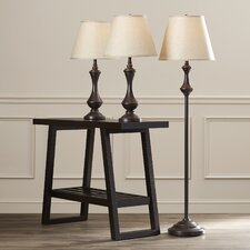 McDermott 3 Piece Table lamp and Floor Lamp Set with Empire Shade
