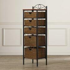Geddyng Iron/Wicker Five Drawer Storage Unit