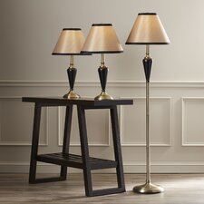 Middleton 3 Piece Table Lamp and Floor Lamp Set with Bell Shade