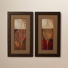 Baynton 2 Piece Fossil Leaves Framed Graphic Art