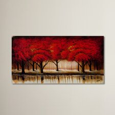 Parade of Red Trees II Print on Canvas