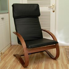 Contemporary Bentwood Faux Leather Lounge Chair
