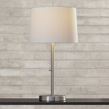 "Brayden Studio Brushed Steel 26"" H Table Lamp with Drum Shade"