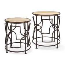 Arlo 2 Piece Wood Top Nesting End Table Set