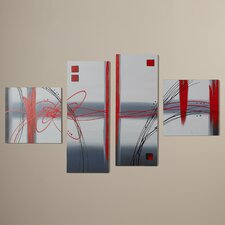 Caesar Frosted Glass 4 Piece Original Painting on Canvas Set
