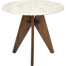 Febe Tall Marble and Wood End Table
