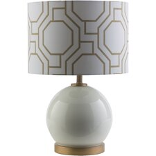 "White 19.25"" H Table Lamp with Drum Shade"
