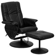 Brett Leather Heated Reclining Massage Chair with Ottoman II