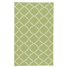 Leila Peridot/Winter White Geometric Area Rug