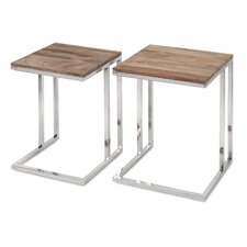 Cairo 2 Piece Stainless Steel Occasional End Table Set
