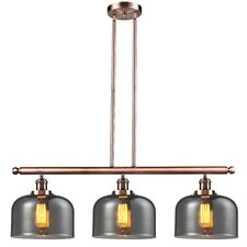 Glass Bell 3 Light Island Pendant