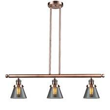 Glass Cone 3 Light Kitchen Island Pendant