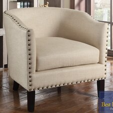 Natural with Nailheads Barrel Arm Chair