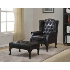 Faux Leather Executive Arm Chair with Ottoman