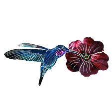 Refraxions Hummingbird with Flower 3D Wall Décor