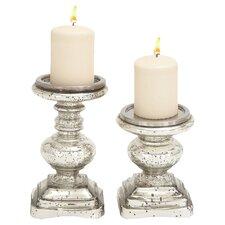 Marseilles 2 Piece Glass Candlestick Set