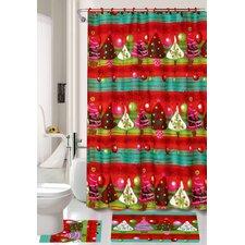 15 Piece Santa Hat Shower Curtain Set